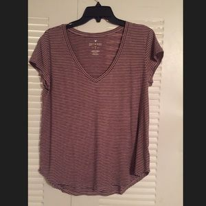 American Eagle soft and sexy striped v neck